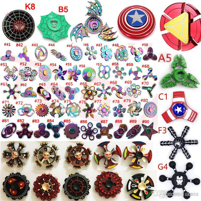 Fidget spinner Rainbow double Led Hand Spinners The Avengers Cartoon spider iron spider man toys spinning top EDC finger Toy in metal box