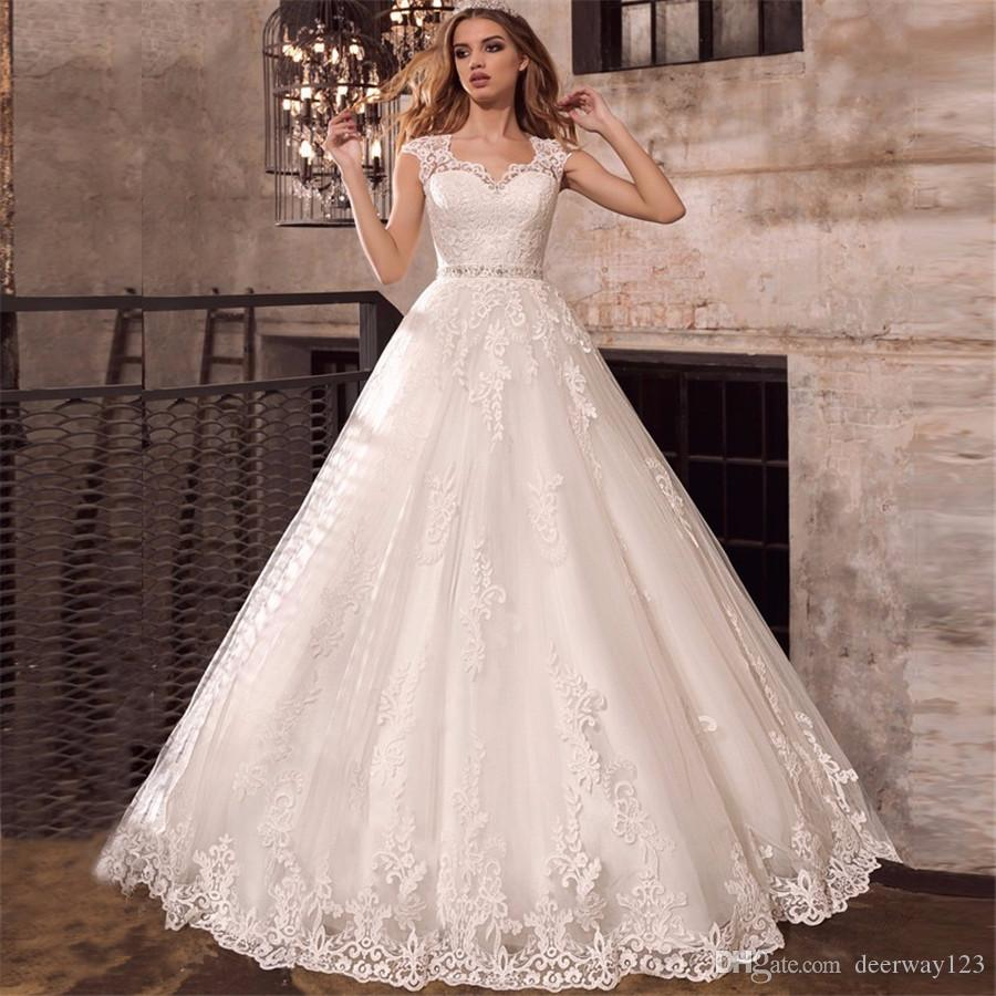 Cap mangas marco moldeado Weddding vestido Vestidos rebordear Sash ilusión Volver vestidos de boda apliques de Noiva