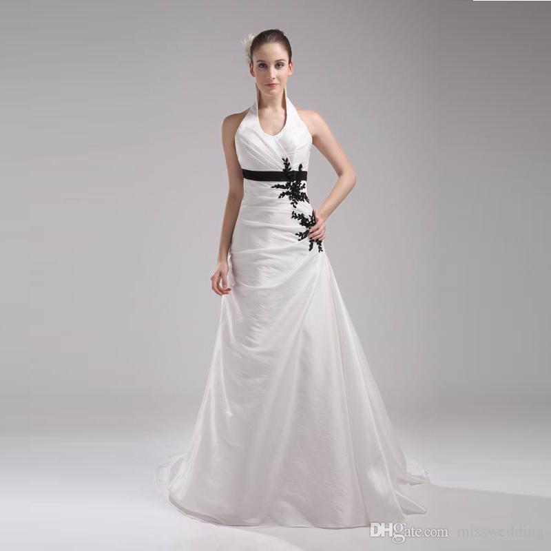 New Brand Custom Wedding Dress Halter Neck Ivory Satin A-Line ...