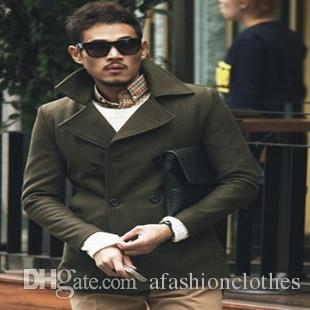 2018 Army Green Winter Wool Coat Men Outerwear Short Slim Design ...