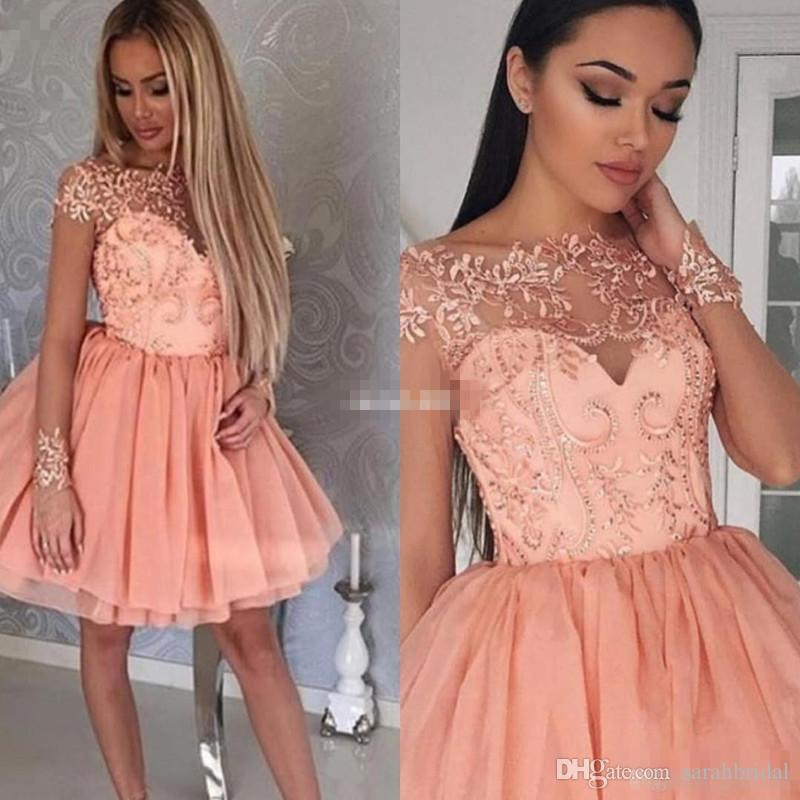 Blush Pink Short Evening Party Dresses Ball Gown Sheer Lace with Short Sleeve 2017 Cheap 8th College Junior Homecoming Dress for Prom Gown