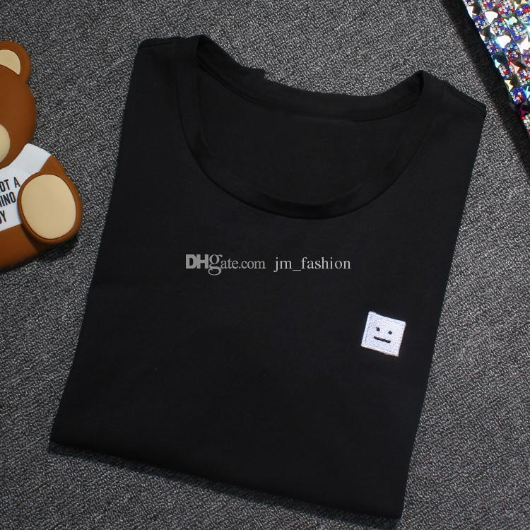 2017 봄 여름 스타일 새 스튜디오 AC 스마일 페이스 T 셔츠 북유럽 브랜드 Pure Color Cotton 반소매 T 셔츠 티셔츠