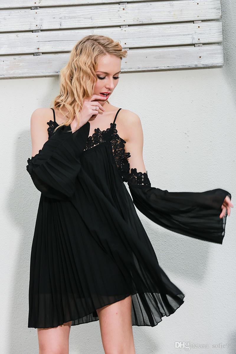 2e1ad6180c6 Compre Vestido De Verano Sexy De Encaje Negro Navidad Camisa De Vestir De  Las Mujeres Blancas De Split Corto Off Shoulder Manga Larga De Playa Vestido  De ...