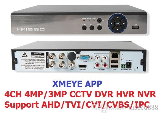 Xmeye app 5IN1 4MP AHD DVR NVR XVR CCTV 4Ch 1080P 3MP 5MP Hybrid Security  DVR Recorder Camera Onvif RS485 Coxial Control P2P Cloud