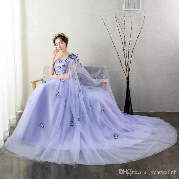 100%real Light Lavender Butterfly Trailing Queen Fairy Cosplay Ball ...