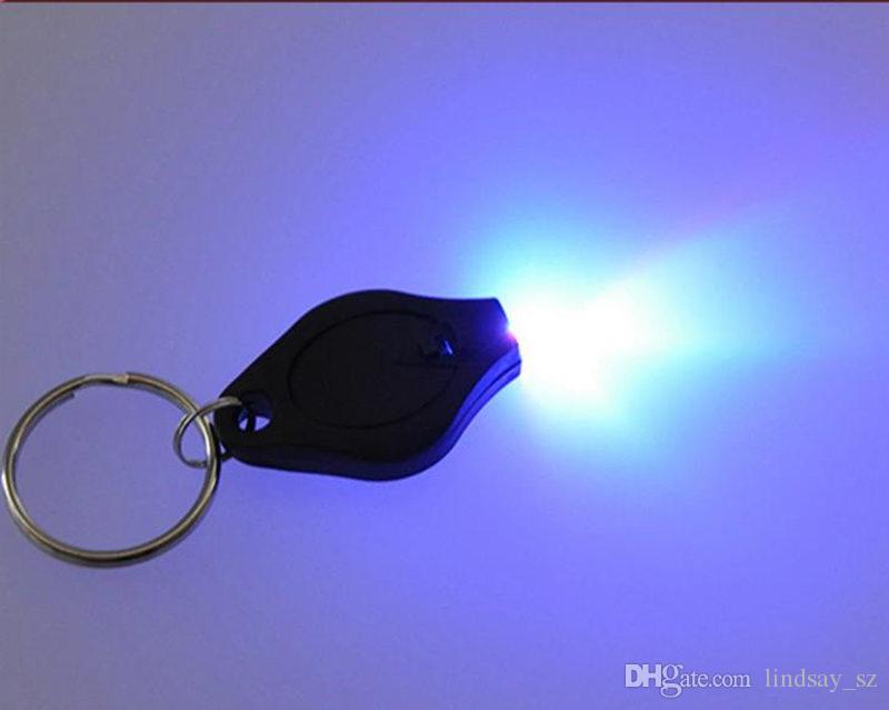 Schwarzer UV-Mini-Taschenlampen UV-Licht-Geld-Detektor LED Keychain beleuchtet Mehrfarbenkleines Geschenk schnelles Verschiffen