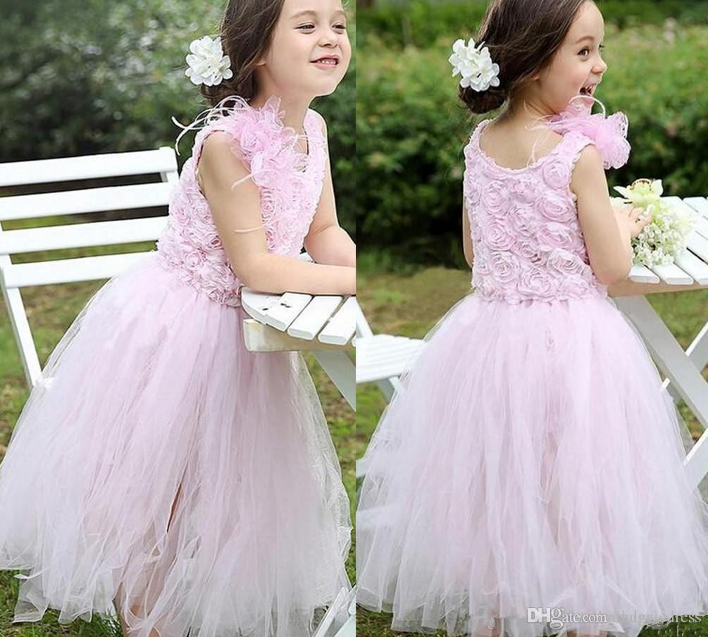 fa40abbe28 Blush Pink Rose Pattern Flower Girl Dresses Handmade Flowers Tea Length  Ruffles Tulle Princess Pageant Gowns Custom Made Communion Dresses Yellow  Flower ...