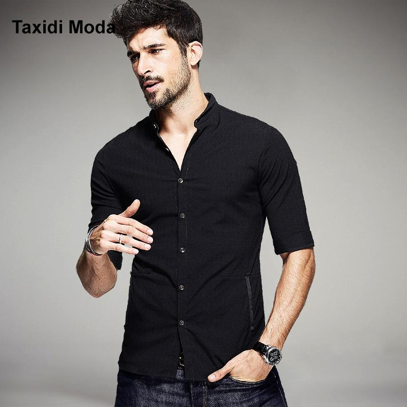 d7127ba1c836 Wholesale New 2016 Summer Mens Fashion Shirts Half Sleeve Black Color Brand  Clothing For Man S Slim Fit Clothes Wear Chemise Homme Canada 2019 From  Oott
