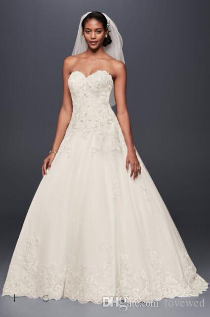 Discount 2017 A Line Tulle Wedding Dresses Sweetheart Neckline Bodice With Beaded Applique Sequins Detail V3836 Bridal Gowns Designer Lace