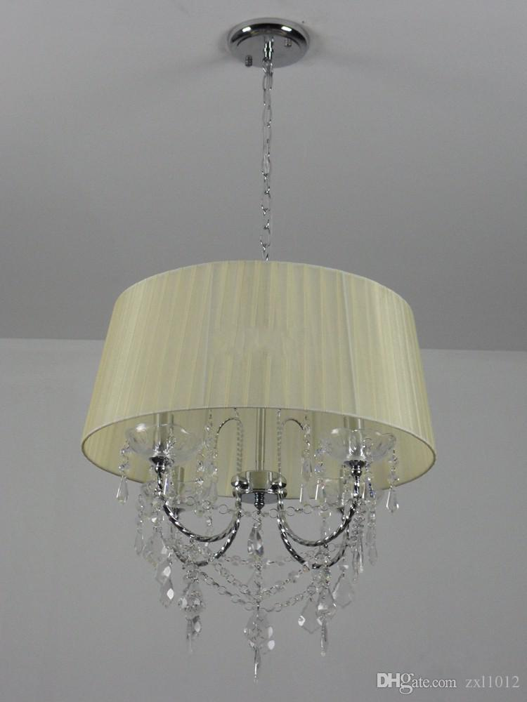 Dia 46cm*H50cm Crystal Chandeliers Elegant 4 Lights Fabric Crystal K9 Chandelier Living Room Pendant Lamps Droplight