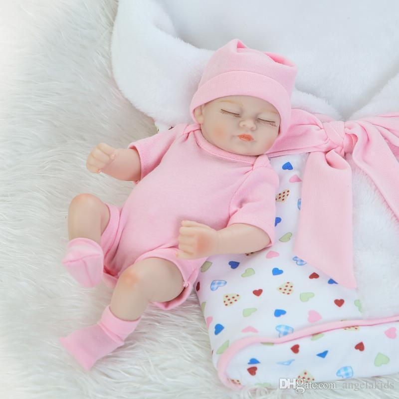 Bambole del bambino rinate del silicone del corpo completo Bambole del bambino di rinascita Reborn fatto a mano 11 pollici Bambola realistica realistica del silicone della ragazza appena nata del bambino