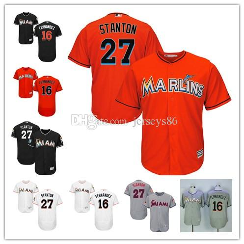 2eaa8a81a ... All Star Stitched Cooperstown Vintage Baseball Jerseys Flexbase  CoolBase 2017 Cheap 27 Giancarlo Stanton Jersey Miami Marlins 16 Jose  Fernandez Color ...