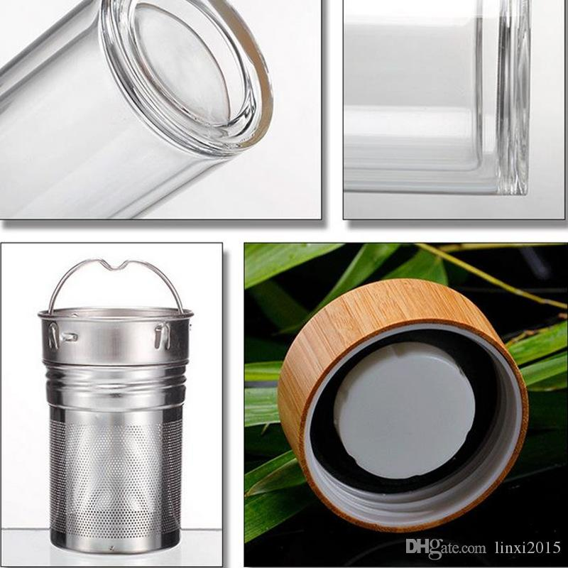 Wholesale 400ml Bamboo lid Double Walled glass tea tumbler. Includes strainer and infuser basket