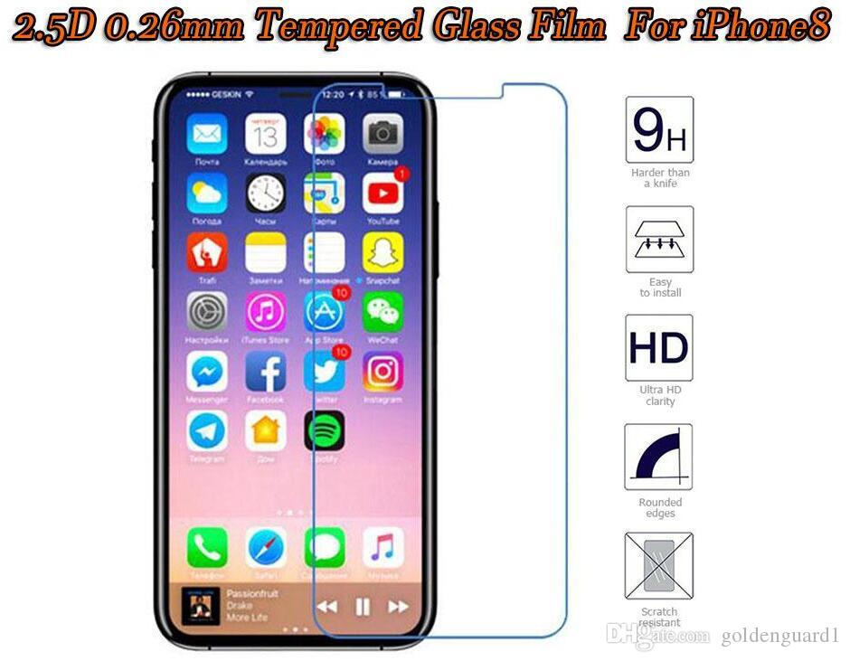 For Iphone 8 Tempered Glass Screen Protector For Iphone 7 6S Plus 5S 4S For Samsung Galaxy J7 Max Perx 2017 Retail Package