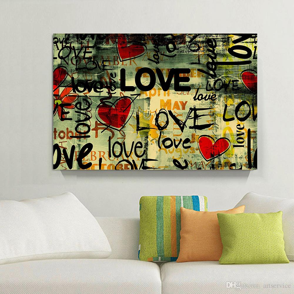 1 Panels HD Graffiti Love Home Decor Wall Art Picture Digital Art Print Canvas Printed Picture for Living Room Wholesale