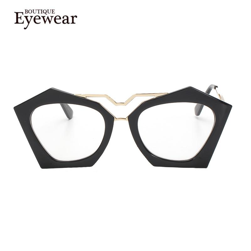 9cb5273650 Wholesale- BOUTIQUE Women Brand Design Geometry Cat Eye Glasses High ...