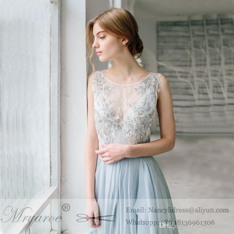 Outdoor Wedding 2017 Sleeveless Dusty Blue Wedding Dress Asymmetry Flowy Chiffon Skirt Open Back Long BridaL Dresses
