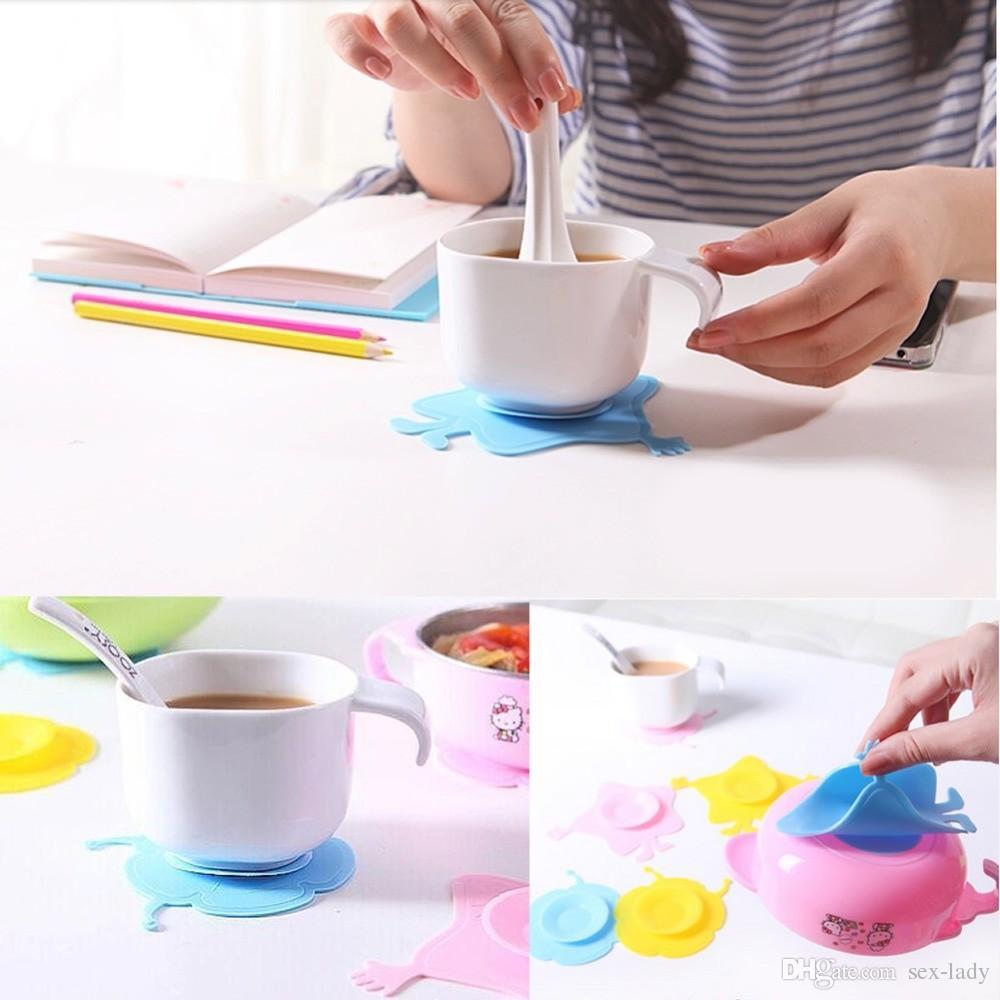 Tapis de silicone souple anti-dérapant enfants bol autocollant d'aspiration ventouses magiques de silicone multi-style multi-couleur Sucker DHL gratuit