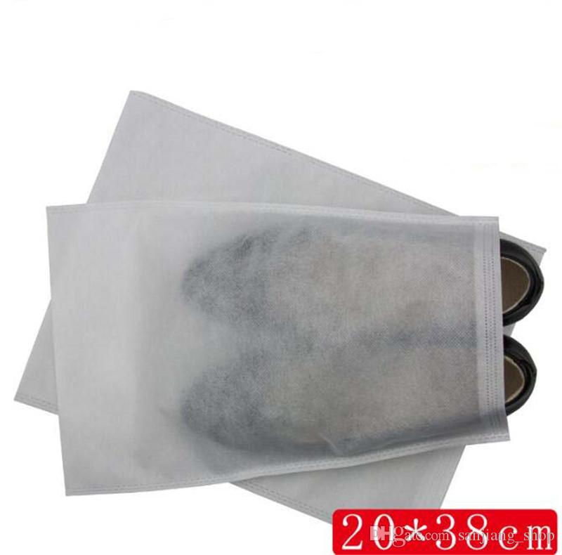Non-woven Fabric Shoes Drawstring Bag White 5 sizes Dustproof Shoes Cover Storage Bag With Rope Reusable Bag