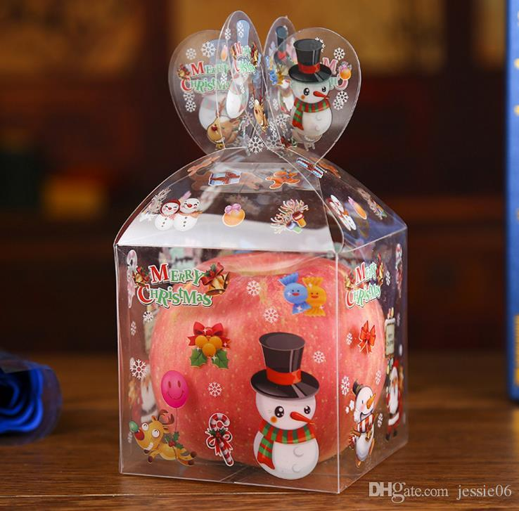 Personalised Christmas Even Clear Gift Box Xmas Printed Snowman Elk Santa Xmas Tree Treats Sweets Candy Apple Boxes favours presents Wrap