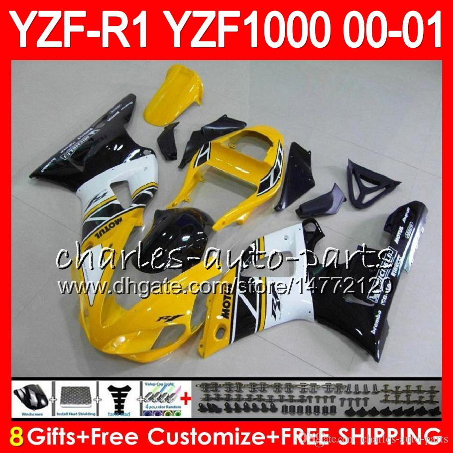 Karosserie für YAMAHA YZF1000 YZFR1 00 01 98 99 YZF-R1000 Karosserie 74HM8 Gelb Weiß YZF 1000 R 1 YZF-R1 YZF R1 2000 2001 1999 1999 Verkleidungkit