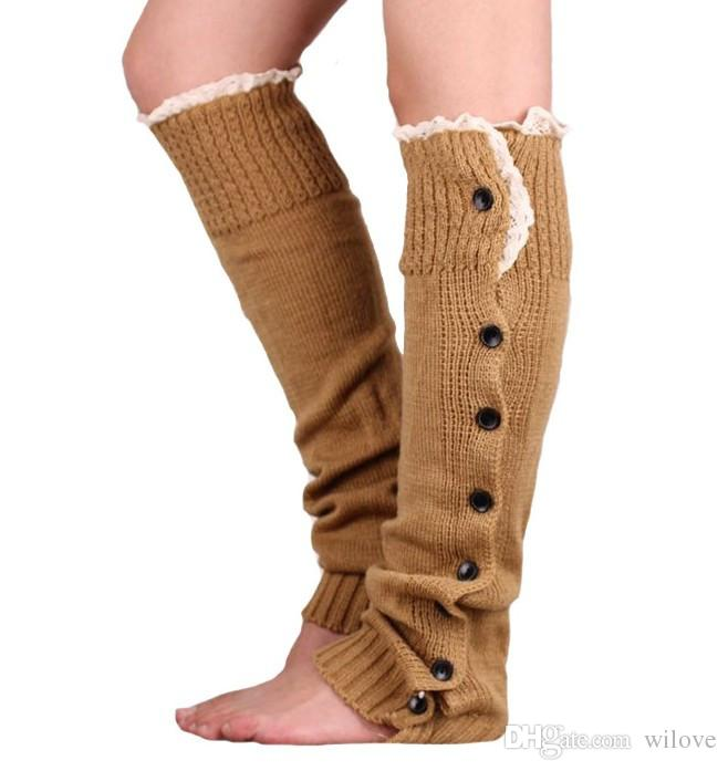 Long Solid Button Down Lace Knitted Leg Warmers Boot Stocking Socks Boot Covers Leggings Tight Ballet Dance Knee High Socks