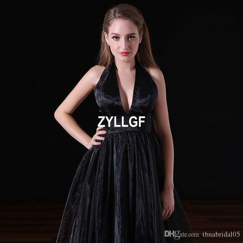 2017 vendite calde nero modello di alta qualità di alta qualità scollo av a-line abito da sera in raso vestido de festa partito serale occidentale