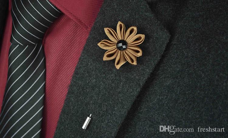 Brooches Handmade Multicolor Casual Mens Brooch Exquisite Flower Lapel Pins Brooches New Arrival Wedding Groom Lapel Pin