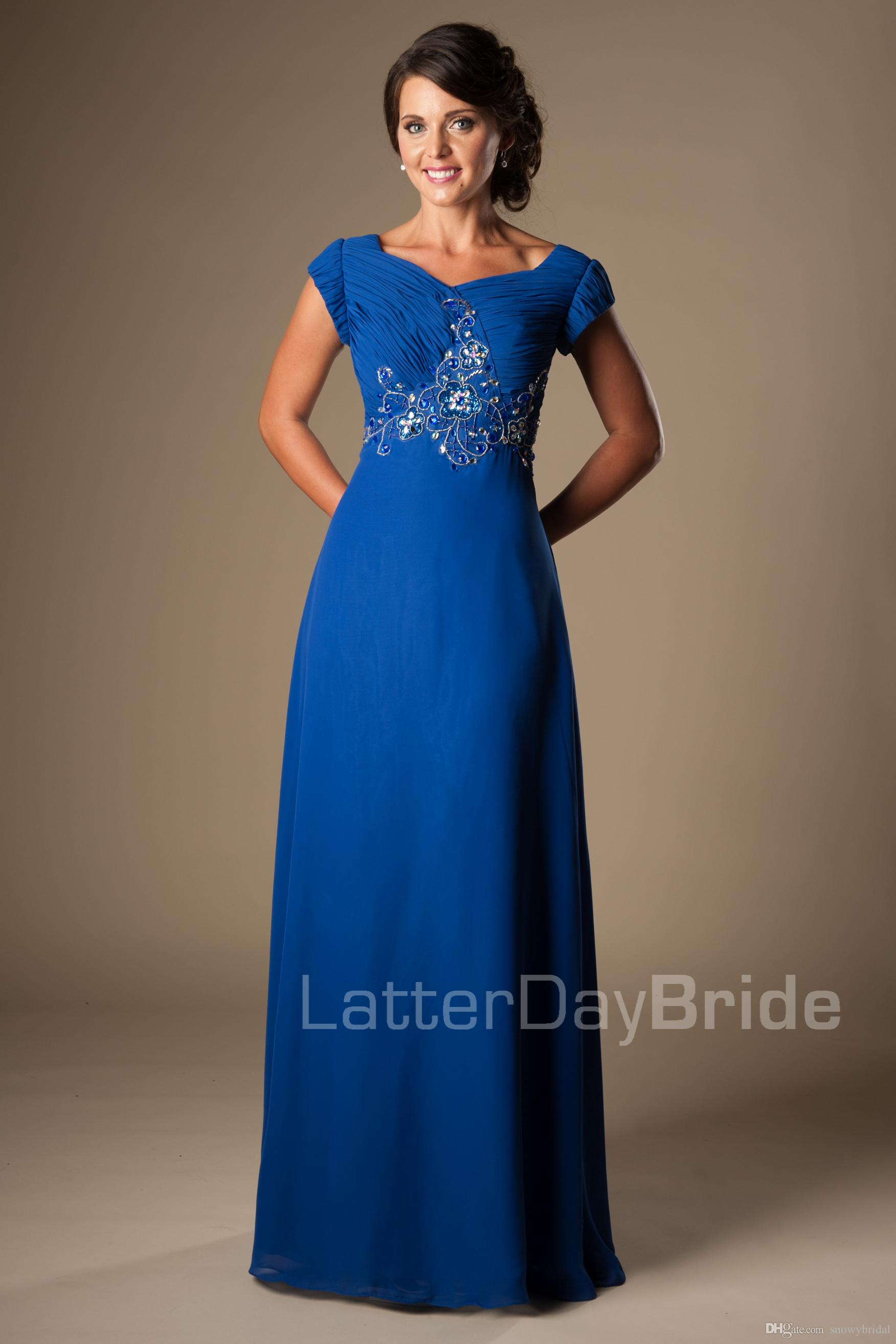 Großhandel Long Royal Blue Perlen Chiffon Modest Prom Kleider Mit ...
