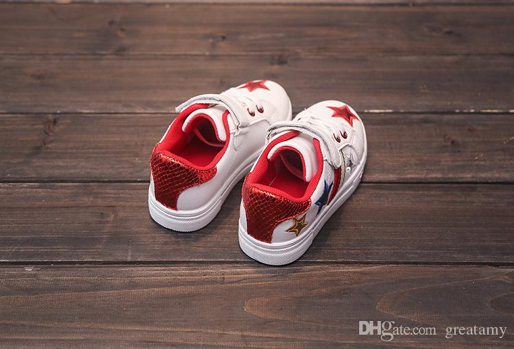 wholesale Children shoes 2017 new girls boys fashion casual shoes for 3-8 year rubber sole flat PU shoes for Kids students