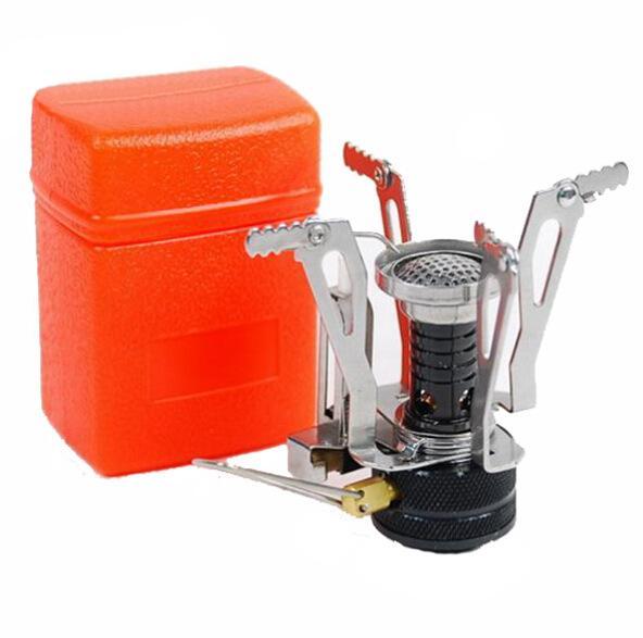 Ultra-leggera in lega di attrezzature da campeggio Fornello a gas candele da esterno Fornello esterna Mini Gas Stufe portatile miniatura picnic