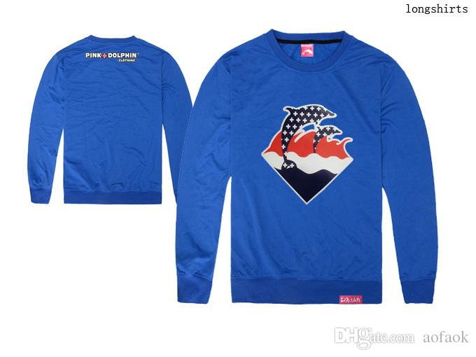 Pink dolphin sailing clothes printed t-shirt pink dolphin tee shirts 100% cotton long sleeve t shirt