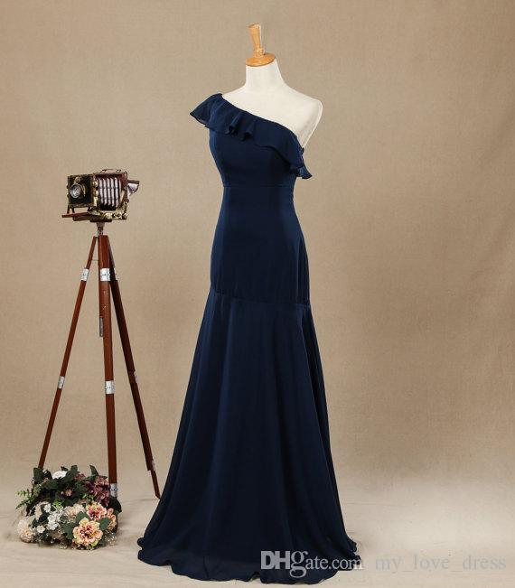 Real Pictures One Shoulder with Ruffles Evening Dress Floor-length Chiffon Bridesmaid Dress Mermaid Navy Prom Dress