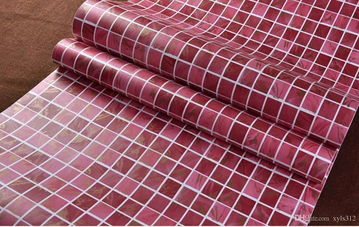 Acquista rosso spessore autoadesivo mosaico carta da parati anti