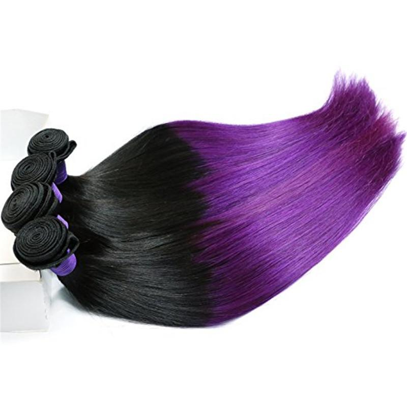 Straight 1B Purple Ombre Virgin Braziilian Hair with Top Closure Dark Root Purple Ombre 4x4 Lace Front Closure with 3Bundles
