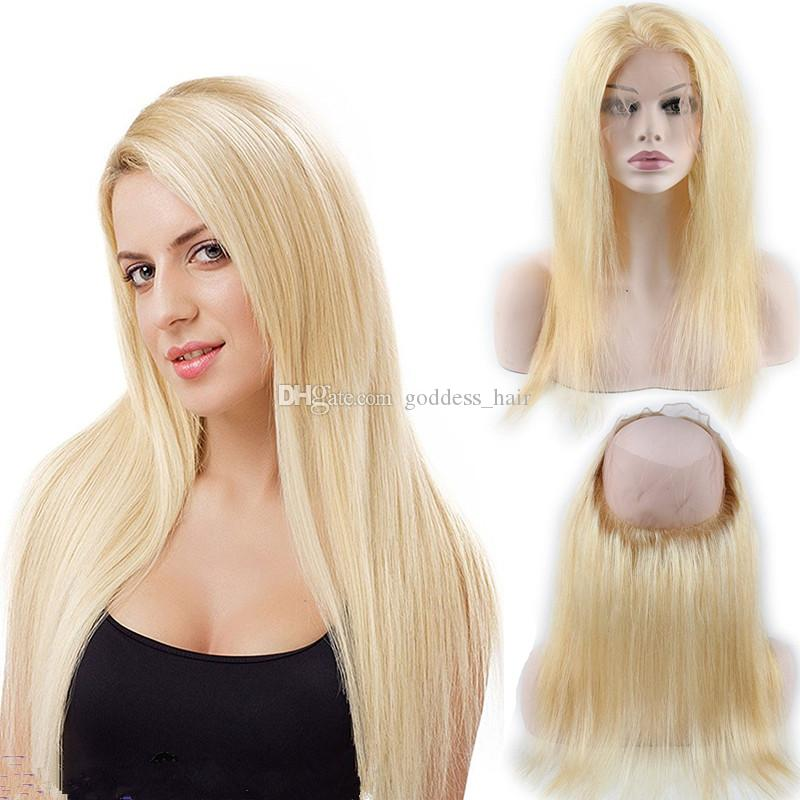 Pure Color Blonde 613 Silky Straight Virgen cabello humano Pre arrancó 360 Lace Band Frontal con bebé pelo 22.5 * 4 * 2