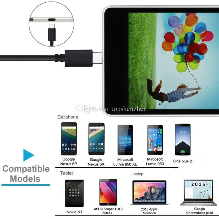 Cable USB de tipo C Cable de sincronización de datos macho USB 3.1 Tipo C para la nueva Macbook 12 pulgadas N1 tablet Google Chrome Pixel Note7