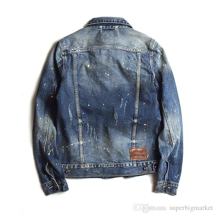 Causal Men's Embroidery Vintage Cotton Jackets Washed Paint Denim Coat Famous Brand Designer Hiphop Rock Male Outerwear Jackets DS01