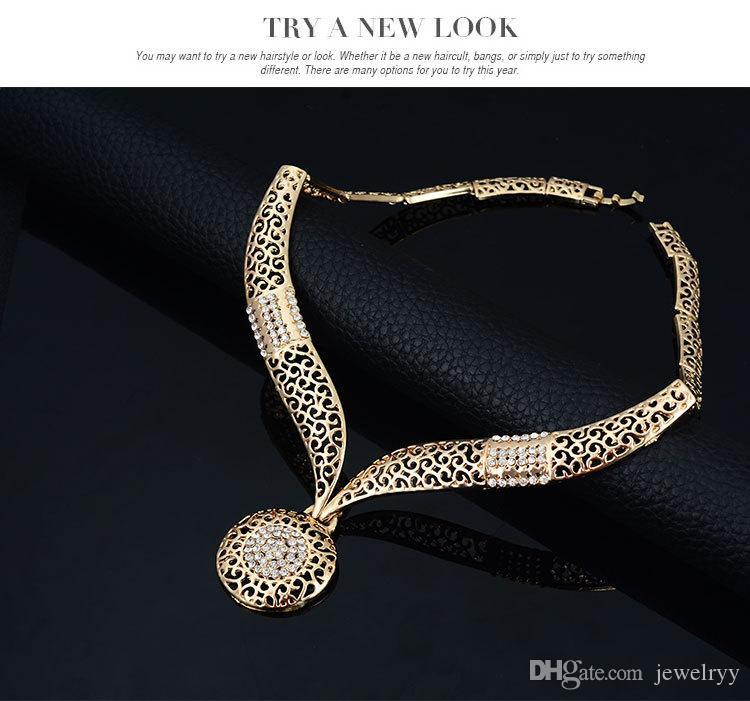 Rhinestone 18K покрыло кольцо серьги ожерелье браслет Hollow розового золота кристаллические ювелирные изделия для невесты партии Wedding Engagement комплект ювелирных изделий
