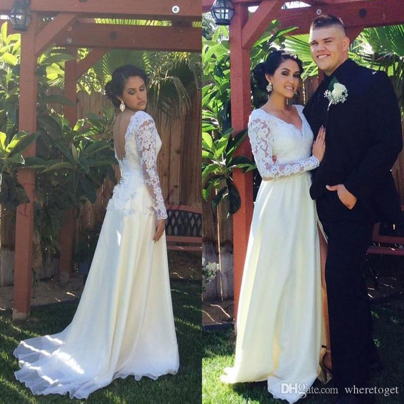 Elegant Country Wedding Dresses Long Sleeves Deep V Neck Side Split Chiffon Bridal Gowns Backless Lace Appliques 2017 Custom Cheap
