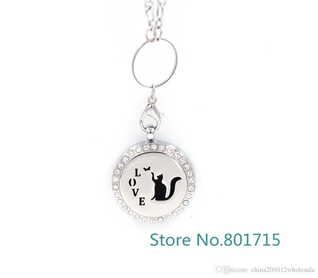 Yuvarlak Gümüş aşk kedi 30mm Aromaterapi / Uçucu Yağlar Paslanmaz Çelik Yüz Parfüm Difüzör Madalyon ile Alaşım çerçeve XX008