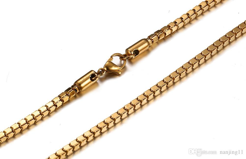 Gnade und elegante Männer Frauen Halsketten Box Kette Clawicle Kette 24inch Lange Edelstahlkette Hohe Qualität NC-033