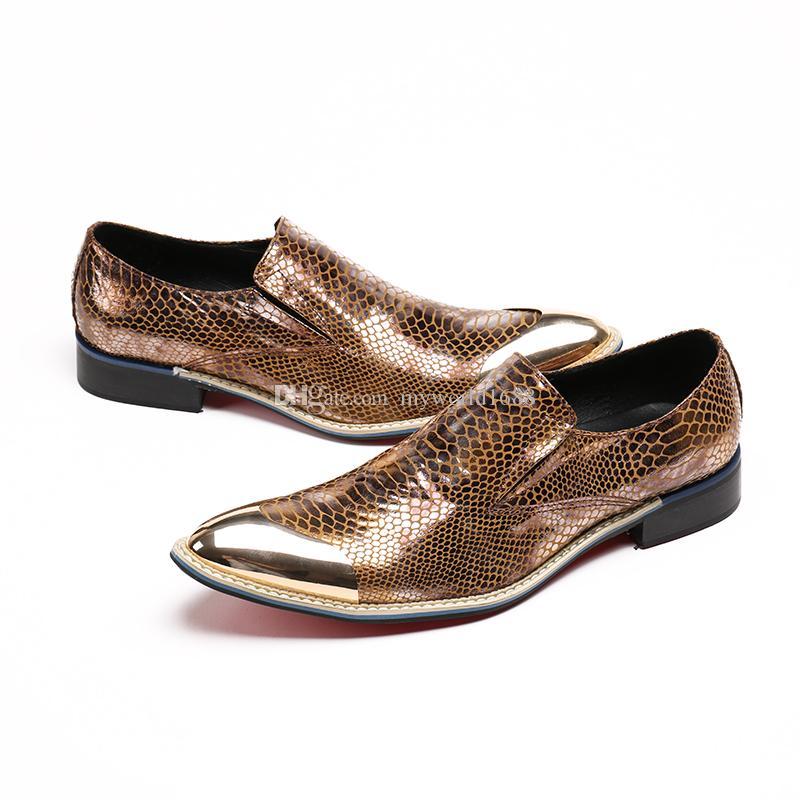 Handmade Toe Остроконечного Gold Metal Новейшей кожа мужчина платье обуви вечер партия Свадьба Прическа Zapatillas Hombre