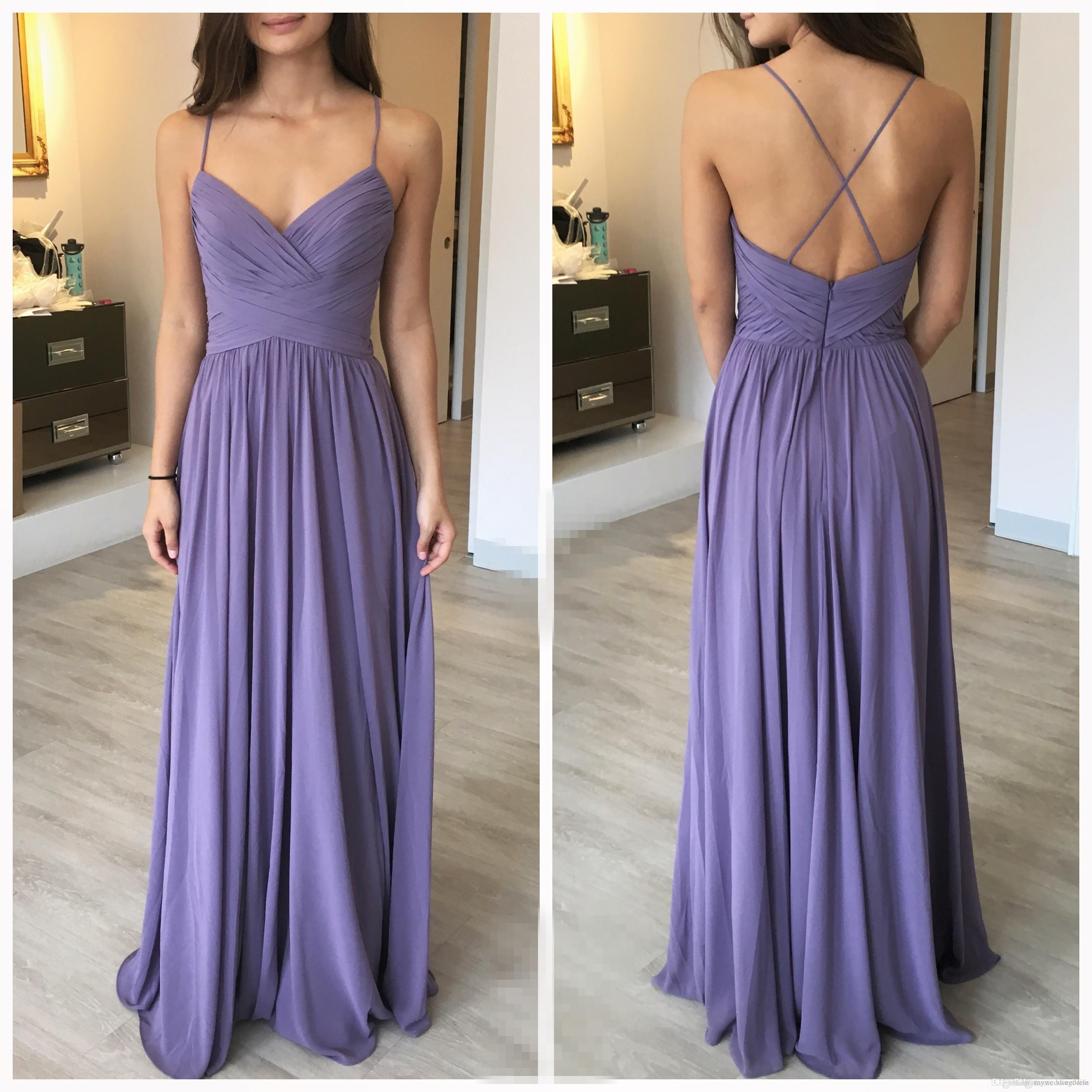 Custom Made Lilac Long Bridesmaid Dresses Cross Back Spaghetti ...