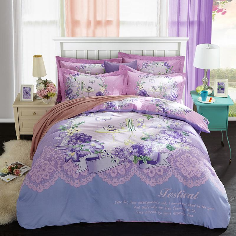 beauty designs 100% cotton 40*40/130*70 reactive print bed sheet bed linen four pieces red blue queen purple blue color cartoo