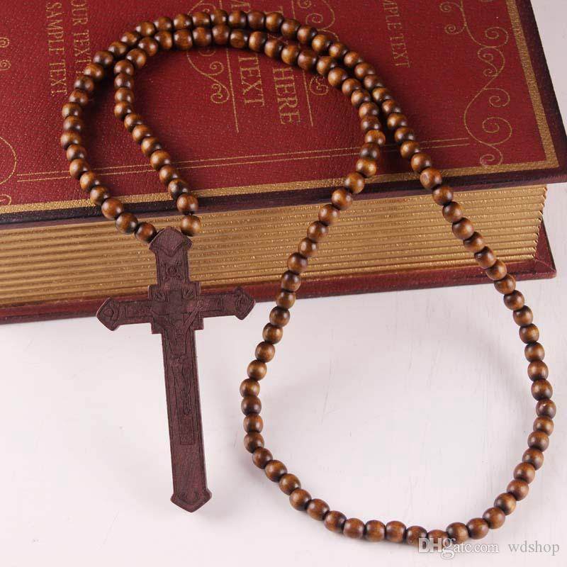 Wholesale Cross Jesus Christians Good Wood Hip Hop Necklace Rosary Neck Jewelry Crucifix Pendant Necklace For Club Party