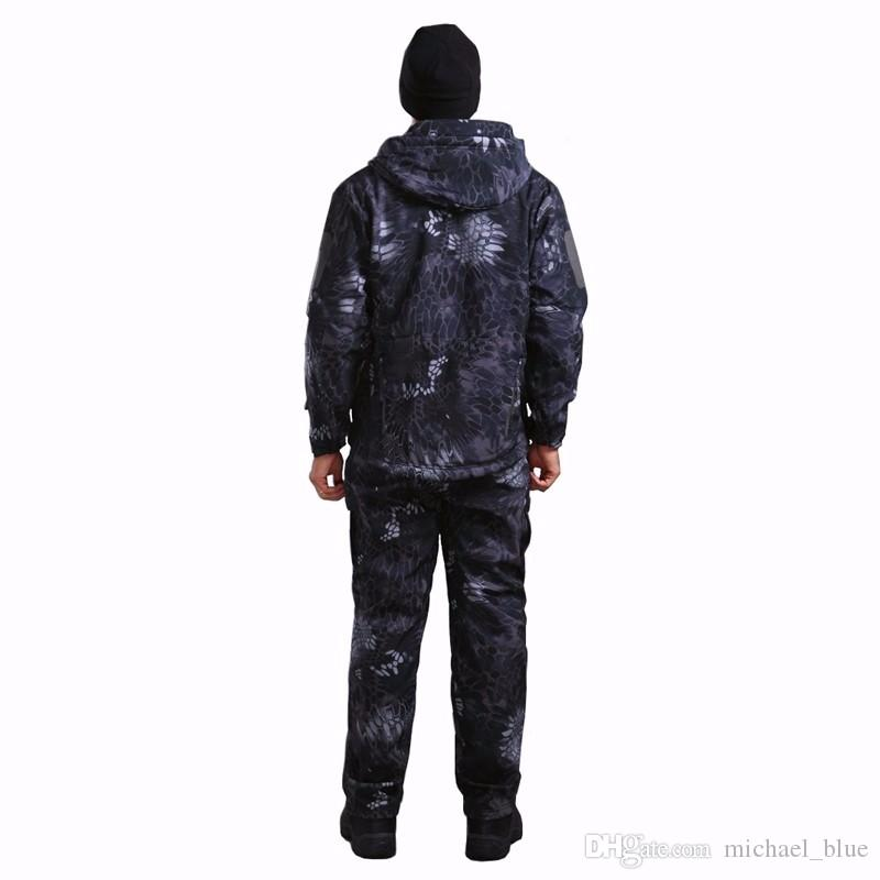 Camouflage hunting soft shell TAD Suit outdoor tactical shark skin jacket and pants Camping Hiking Waterproof TAD uniforms.