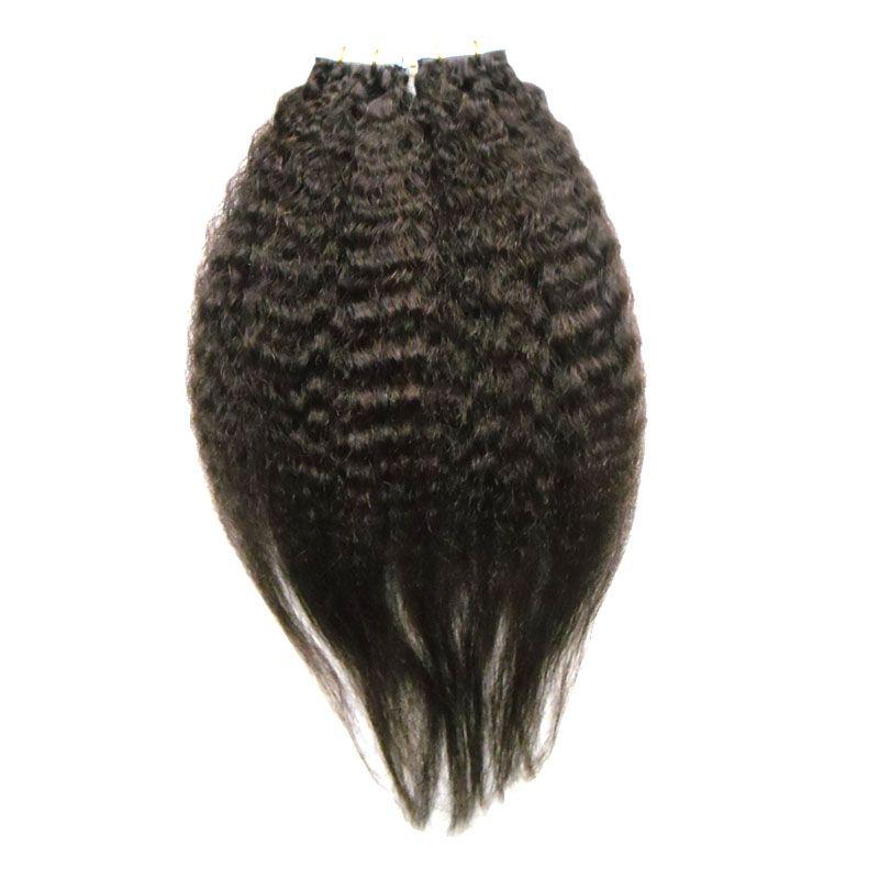 Capelli diritti crespi vergini brasiliani vergini 100g nastro di colore naturale dei capelli di Yaki in estensioni dei capelli umani