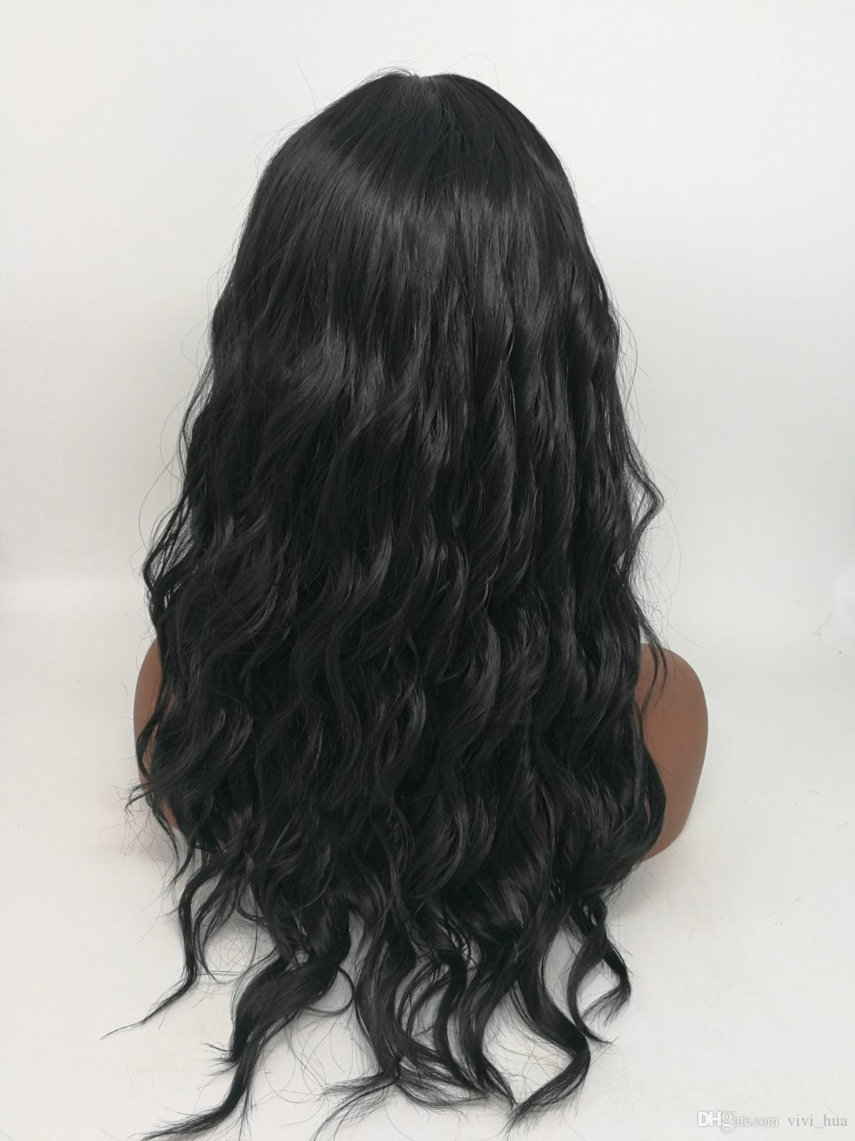 HWG1255 Fashionable European and American style with long black hair oblique bangs and curly hair multi color choice 100% Heat synthic Fiber