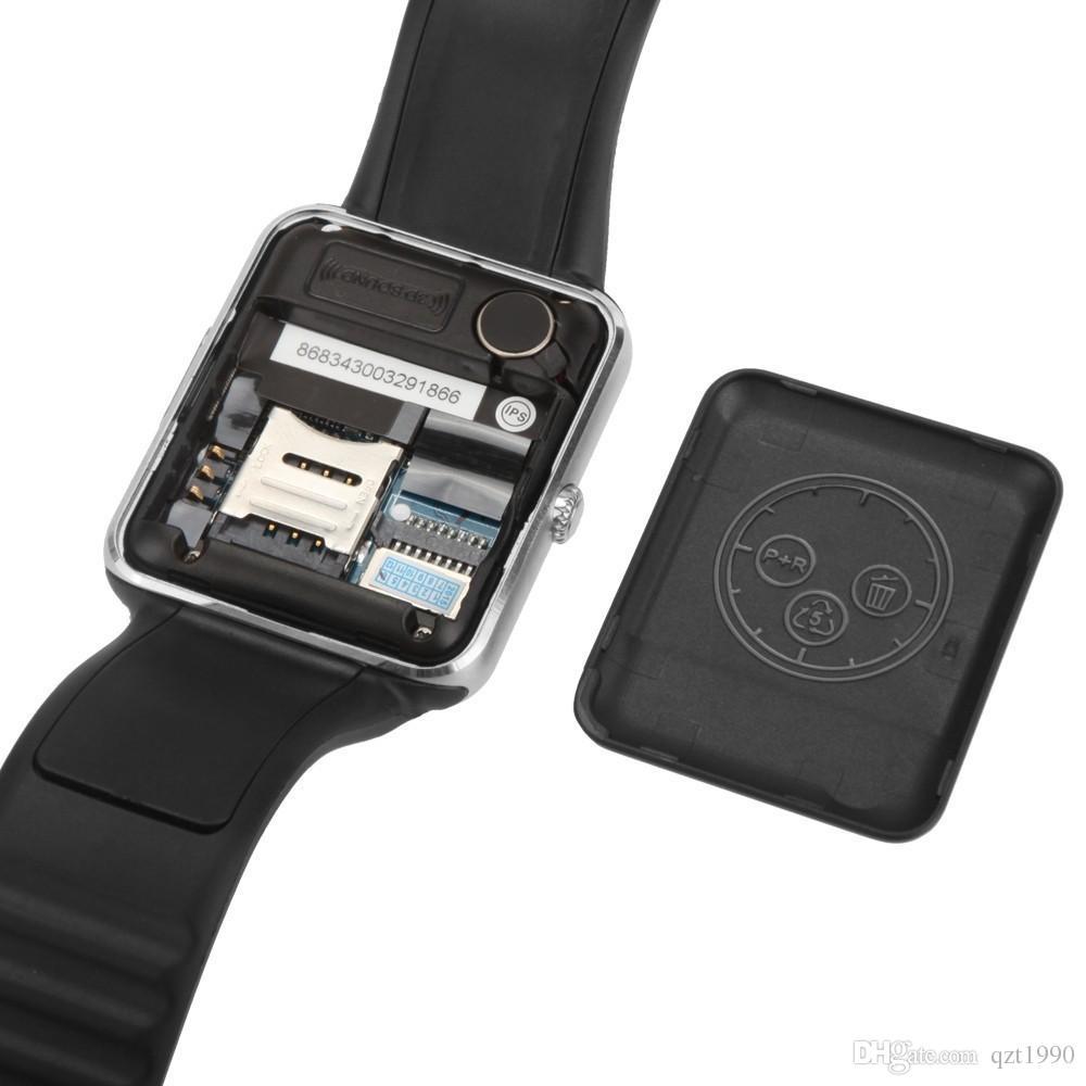 1 peça smartwatch gt08 relógio sync notifier com cartão sim bluetooth smart watch para apple iphone ios samsung android telefone